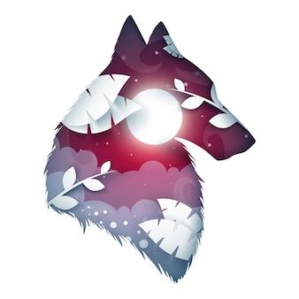Ilustração de origami de lobo