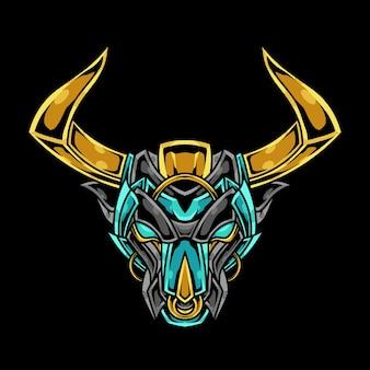 Ilustração de ornamento abstrato de cabeça de touro