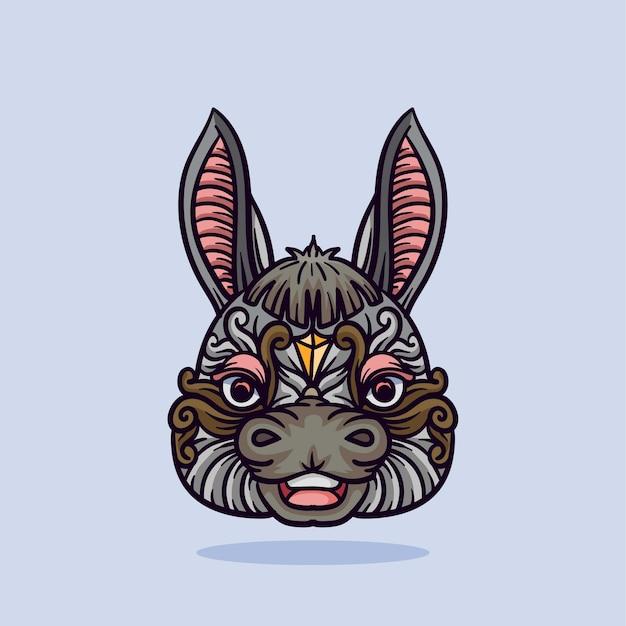 Ilustração de ornamento de cabeça de burro com linhas e cores ilustração vetorial