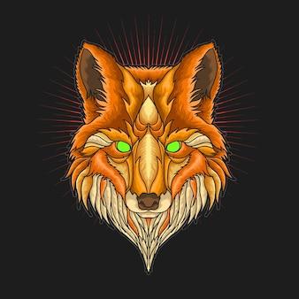 Ilustração de ornamento de cabeça de raposa