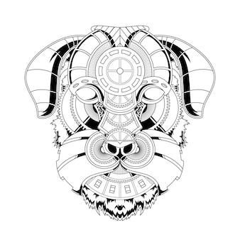 Ilustração de ornamento de cão em estilo linear