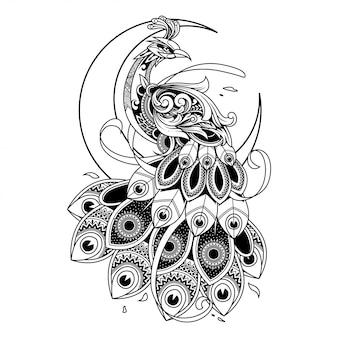 Ilustração de ornamento de doodle de pavão, tatuagem e design de tshirt