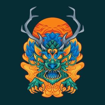 Ilustração de ornamento de dragão
