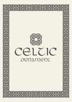 Ilustração de ornamento de fronteira de moldura trançada de nó celta
