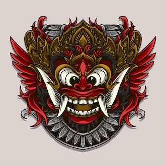 Ilustração de ornamento de gravura de barong balinesa