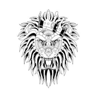 Ilustração de ornamento de leão em estilo linear