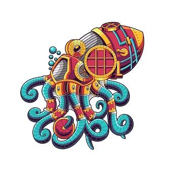 Ilustração de ornamento de polvo e design de camiseta