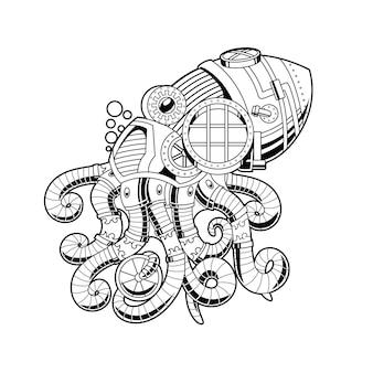 Ilustração de ornamento de polvo em estilo linear