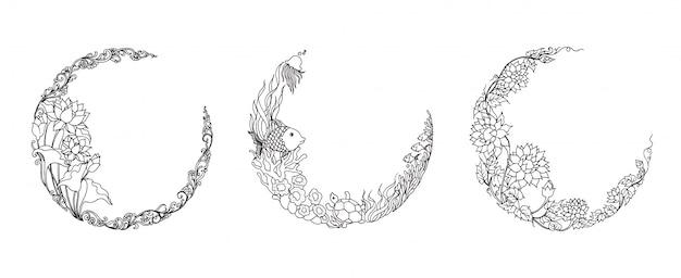 Ilustração de ornamento floral em forma de meia lua