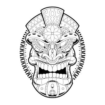 Ilustração de ornamento tiki em estilo linear