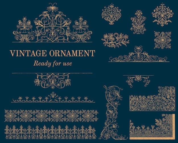 Ilustração de ornamento vintage floreio