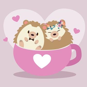Ilustração de ouriços fofos