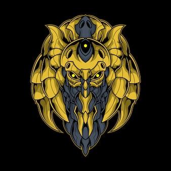 Ilustração de ouro cyber robô