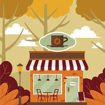 Ilustração de outono café aconchegante