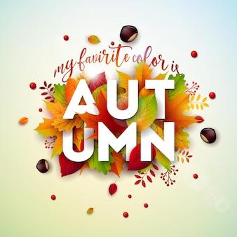 Ilustração de outono com folhas coloridas caindo castanhas e letras sobre fundo claro outonal.
