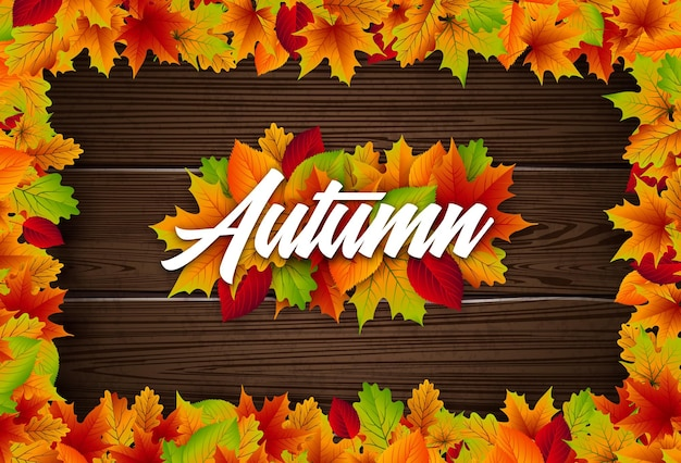 Ilustração de outono com folhas coloridas e castanhas e letras em fundo de madeira vintage autum ...