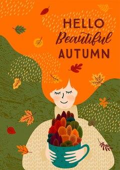Ilustração de outono com mulher bonita