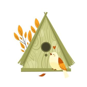 Ilustração de outono com pássaro e casa de madeira.