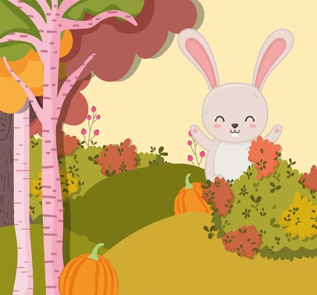 Ilustração de outono de coelho sorridente com floresta de abóbora