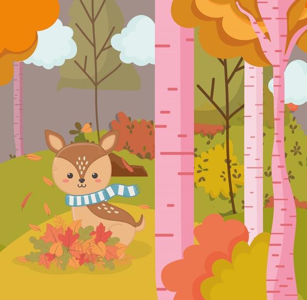 Ilustração de outono de veado bonitinho com animal cachecol