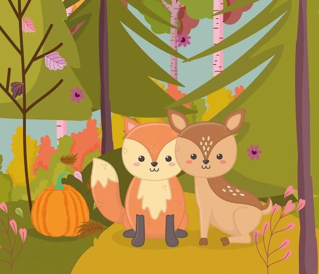 Ilustração de outono de veado bonitinho e raposa com folhagem de abóbora
