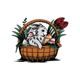 Ilustração de ovo de páscoa engraçado coelho