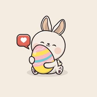 Ilustração de ovo de páscoa kawaii cute bunny rabbit