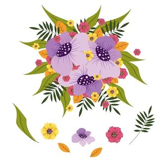Ilustração de pacote de buquê de flores 2d