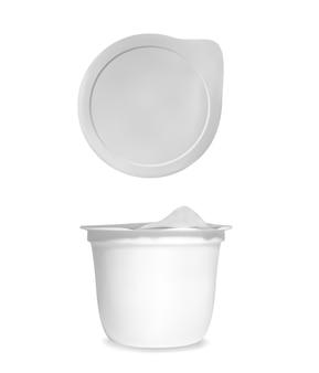 Ilustração de pacote de iogurte de copo de recipiente 3d realista branco com tampa de folha fechada