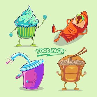 Ilustração de pacote de vetores de junk food fofa