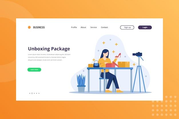 Ilustração de pacote unboxing para o conceito de envio e entrega na página inicial