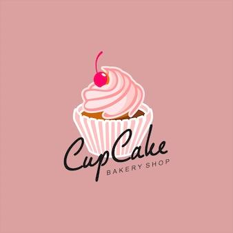 Ilustração de padaria rosa em vetor logotipo cupcake