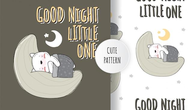 Ilustração de padrão animal de gatinho adormecido plano fofo