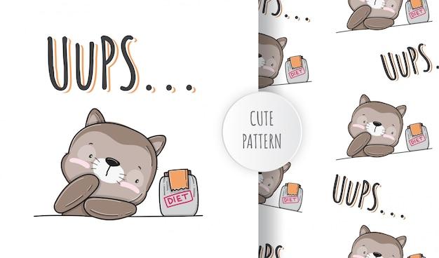 Ilustração de padrão animal de gatinho plano fofo