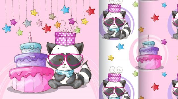Ilustração de padrão bonito feliz aniversário de guaxinim