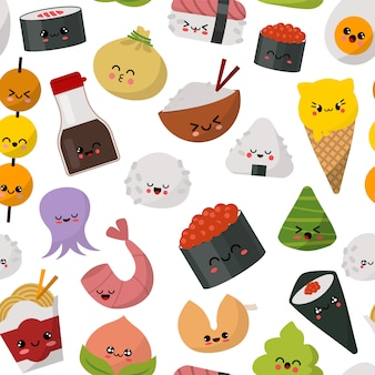 Ilustração de padrão de comida japonesa de sushi. cozinha tradicional do menu do japão. sushi, pãezinhos, arroz, molho de soja, wasabi e macarrão gourmet saudável conjunto.