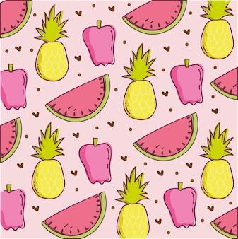 Ilustração de padrão de comida, melancia de abacaxi e decoração com pimenta fresca