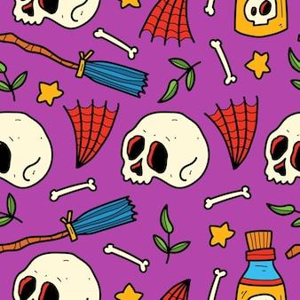 Ilustração de padrão de desenho animado de halloween desenhado à mão