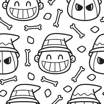 Ilustração de padrão de doodle de desenho animado de halloween