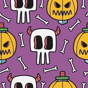 Ilustração de padrão de doodle de halloween desenhado à mão