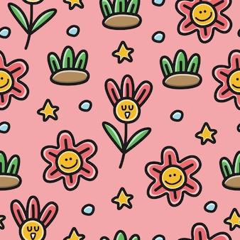 Ilustração de padrão de flor doodle de desenho animado kawaii