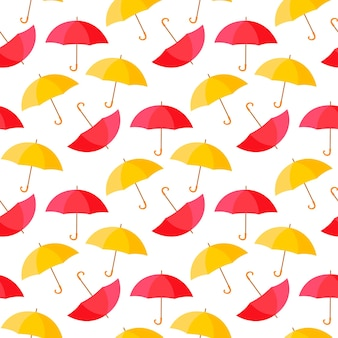 Ilustração de padrão de fundo sem emenda de guarda-chuvas coloridos