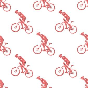 Ilustração de padrão de homem de bicicleta e motociclistas. imagem criativa e esportiva