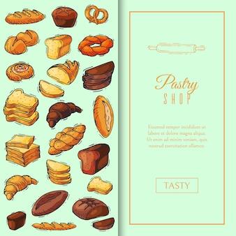 Ilustração de padrão de pão de pão fresco.