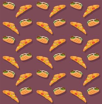 Ilustração de padrão de pizzas e burritos deliciosos fast food