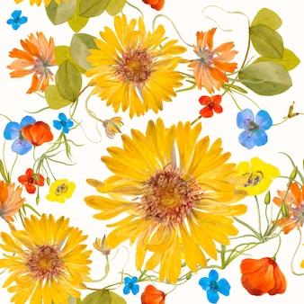 Ilustração de padrão floral colorido sem costura, remixada de obras de arte de domínio público