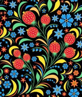 Ilustração de padrão sem emenda com ornamento floral russo tradicional.