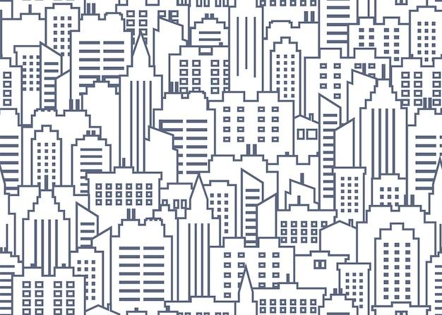 Ilustração de padrão sem emenda da paisagem urbana