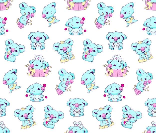 Ilustração de padrão sem emenda de coala kawaii fofo
