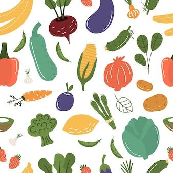 Ilustração de padrão sem emenda de frutas e legumes.